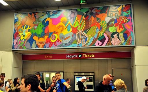 Mexikói muralista festő képe díszíti a Keleti pályaudvar metrómegállót   kép forrása: www.budapest.hu / Majtényi Mihály